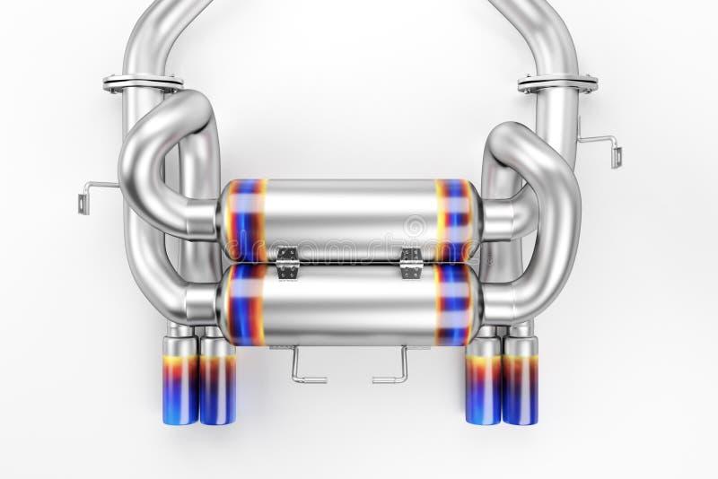 Dispositivo de escape de adaptación para un coche de deportes Silenciador del coche, silenciador del extractor ilustración del vector