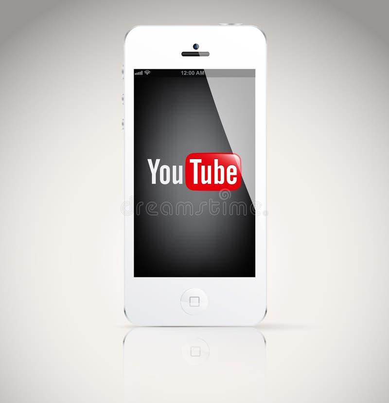 Dispositivo de Iphone 5, mostrando o logotipo de YouTube. ilustração royalty free