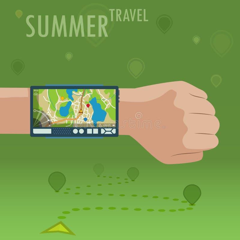 Dispositivo de la navegación en la mano de la muñeca con el navegador Herramienta elegante de GPS para el viaje del verano EPS 10 ilustración del vector