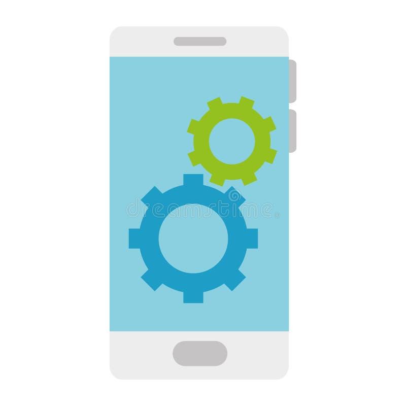 Dispositivo de Smartphone con los engranajes ilustración del vector