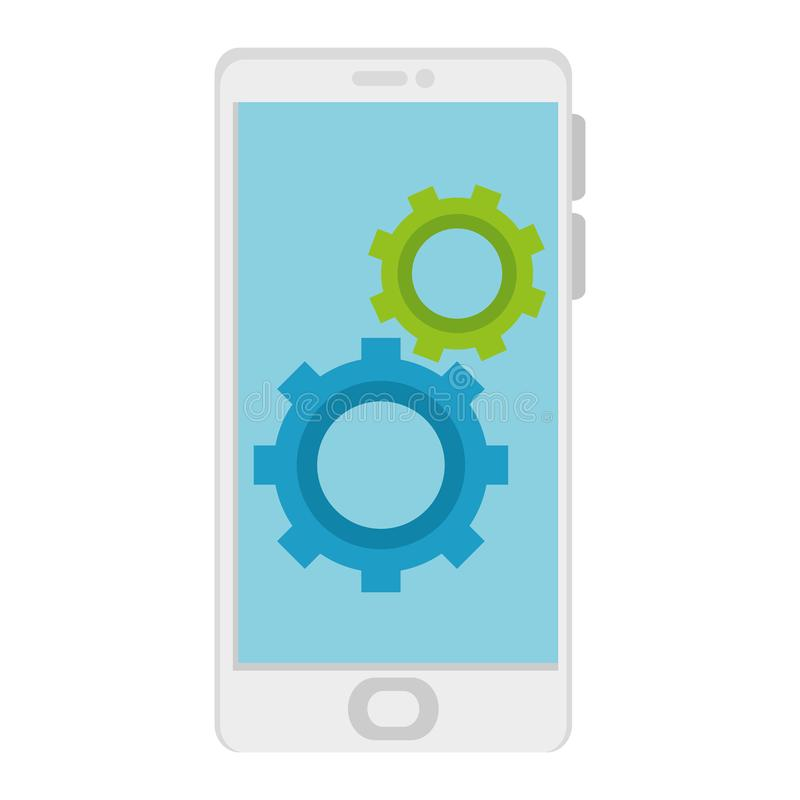 Dispositivo de Smartphone con los engranajes libre illustration