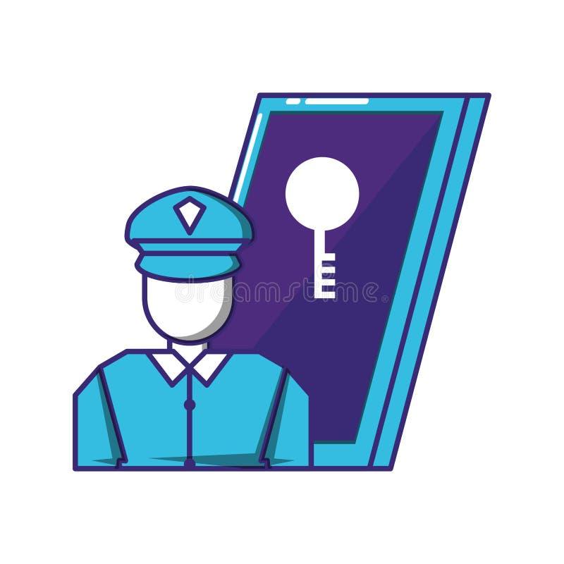 Dispositivo de Smartphone con seguridad del agente ilustración del vector