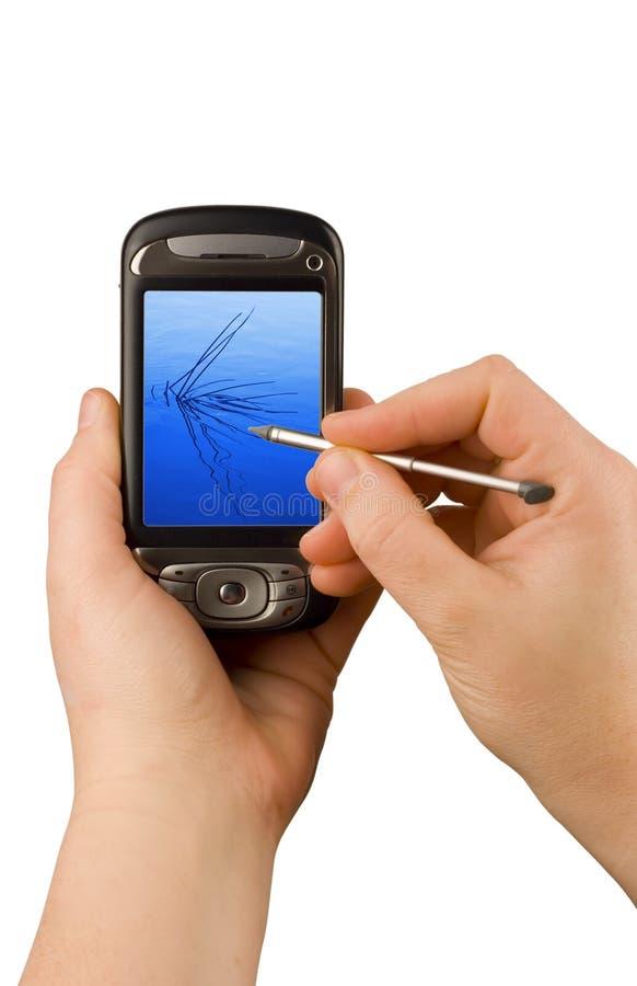 Dispositivo de uma comunicação empresarial da tecnologia fotografia de stock