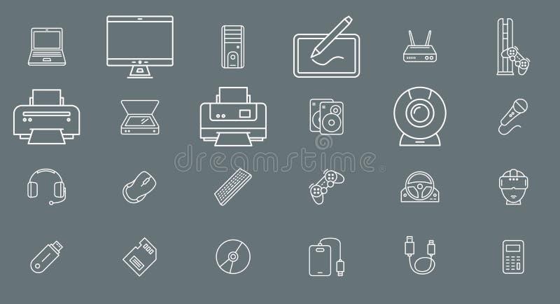 Dispositivo de una electrónica del ordenador - esquema del vector del sistema de los iconos para la web o el móvil 01 stock de ilustración