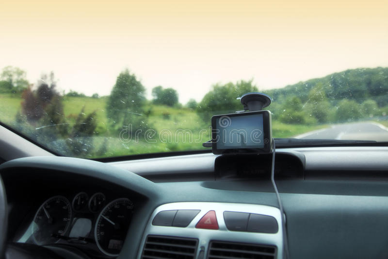 Dispositivo del sistema di navigazione satellitare dell'automobile gps immagini stock libere da diritti