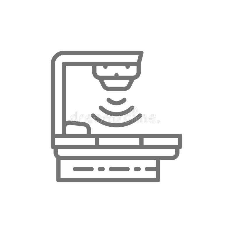 Dispositivo del tratamiento contra el cáncer, radioterapia, equipamiento médico, línea icono de la radioterapia ilustración del vector