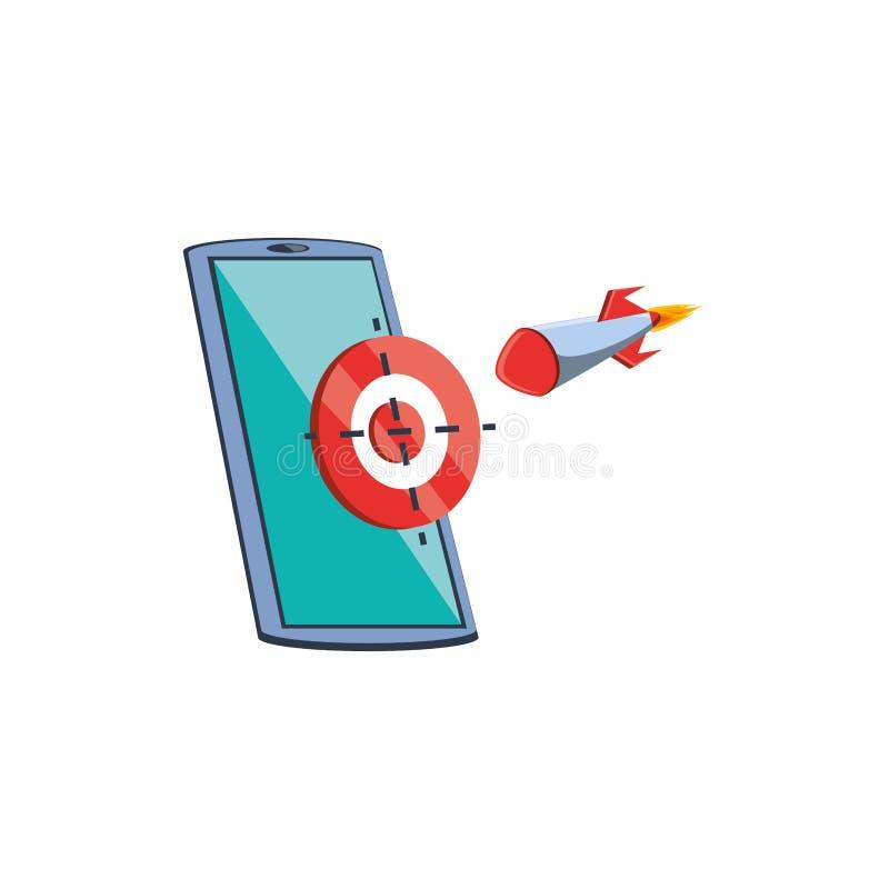 Dispositivo di Smartphone con l'obiettivo ed il razzo royalty illustrazione gratis