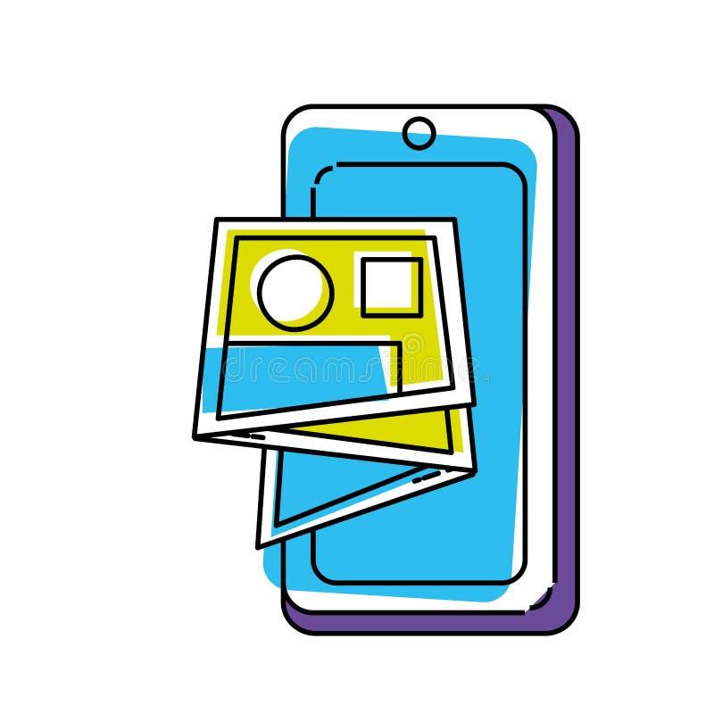 Dispositivo di Smartphone con la guida della mappa illustrazione di stock