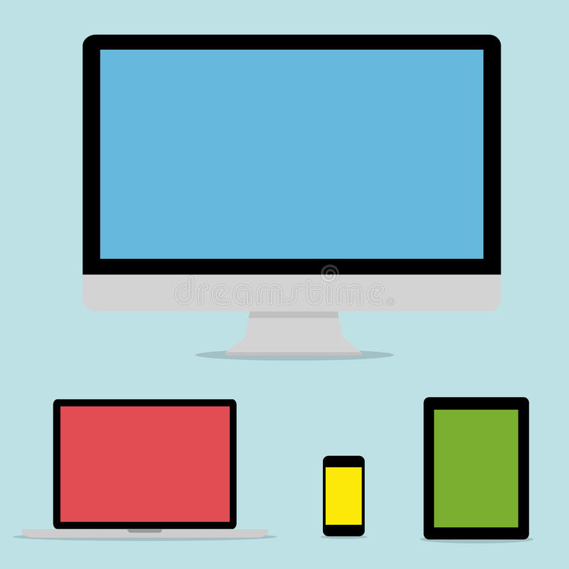 Dispositivo digital moderno de la tecnología de la colección plana del diseño libre illustration