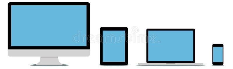 Dispositivo digital moderno de la tecnología de la colección plana del diseño ilustración del vector