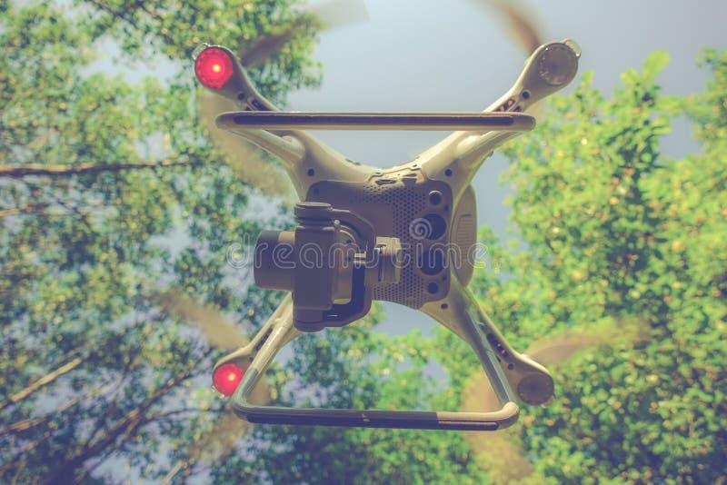 Dispositivo do zangão na floresta fotografia de stock