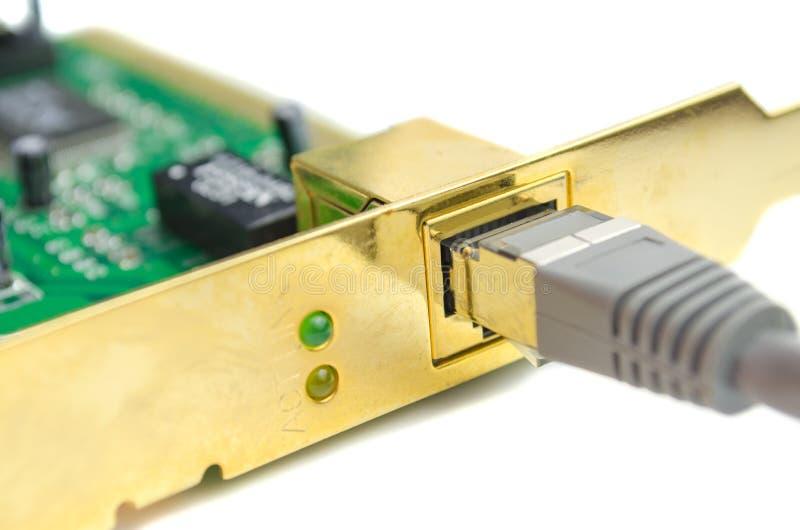 Dispositivo e cabo para a conexão à rede imagens de stock
