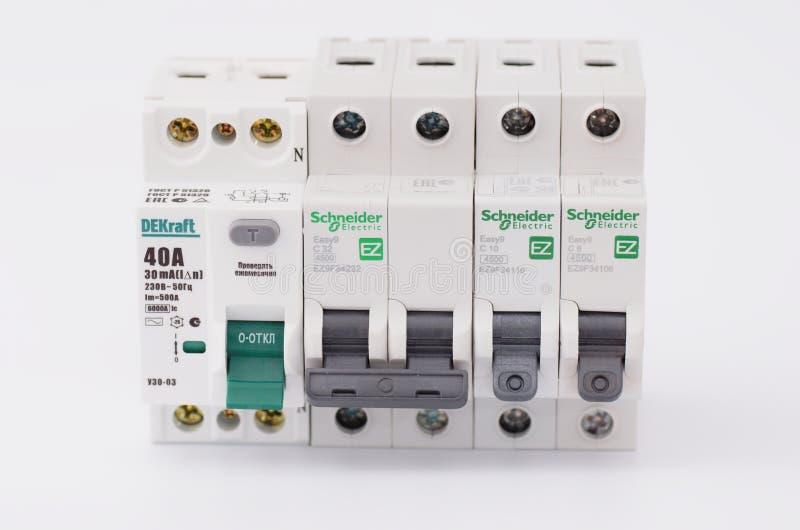 dispositivo e interruptor Residual-atuais do dobro-polo imagens de stock