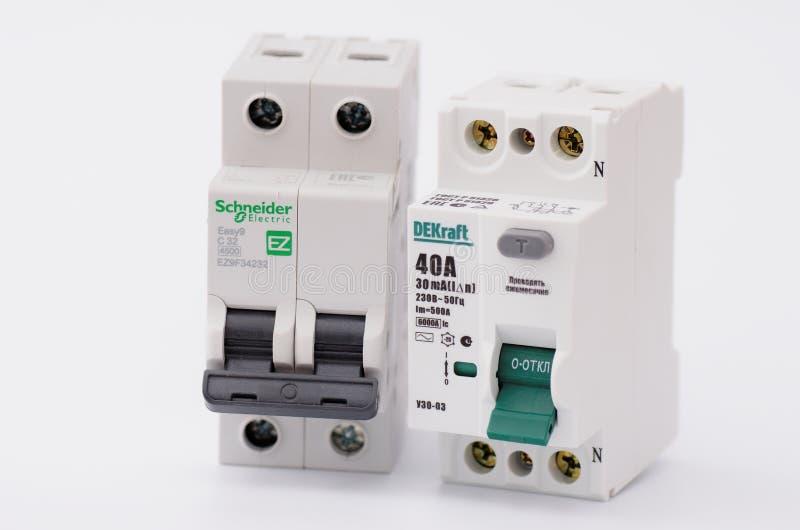 dispositivo e interruptor Residual-atuais do dobro-polo imagem de stock
