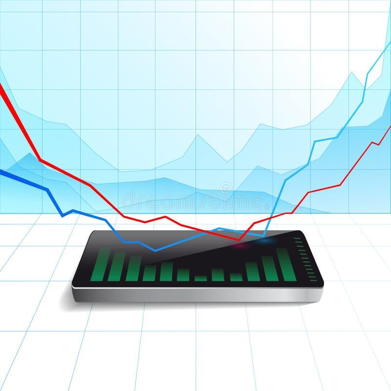Dispositivo electrónico elegante de la nueva tecnología del reloj con negocio del gráfico stock de ilustración