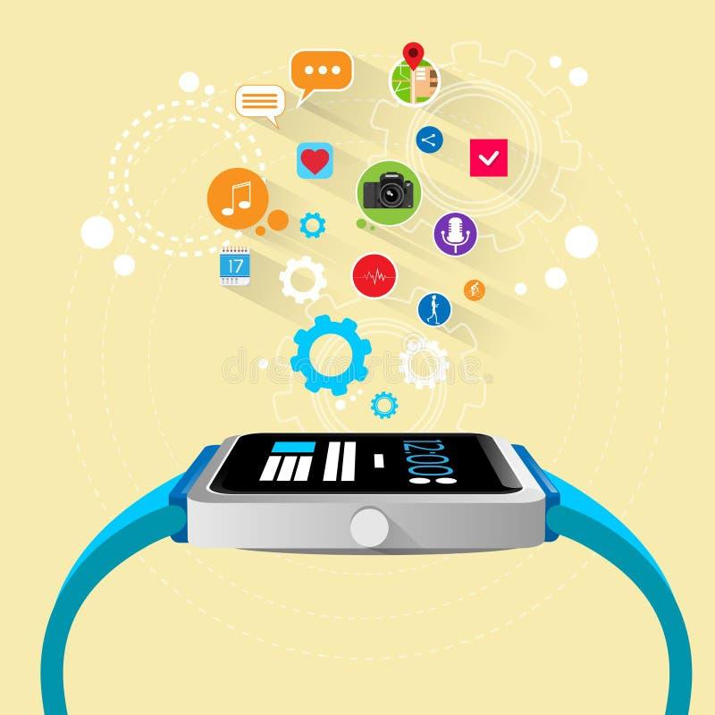 Dispositivo eletrónico esperto da nova tecnologia do relógio com ilustração do vetor