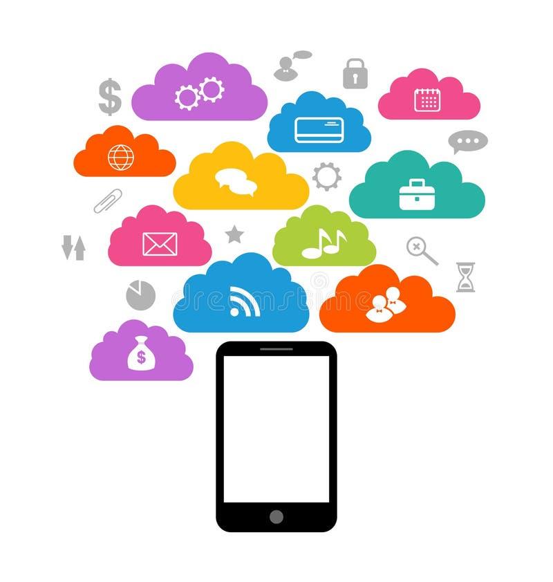 Dispositivo esperto com a nuvem de ícones da aplicação, busi ilustração stock