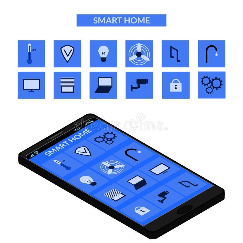 Dispositivo esperto da casa e de controle com ícones e elementos diferentes ilustração do vetor