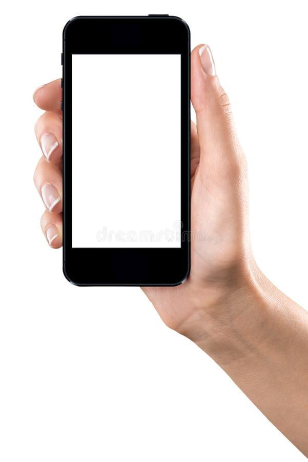 Dispositivo fêmea do toque da terra arrendada da mão imagens de stock royalty free