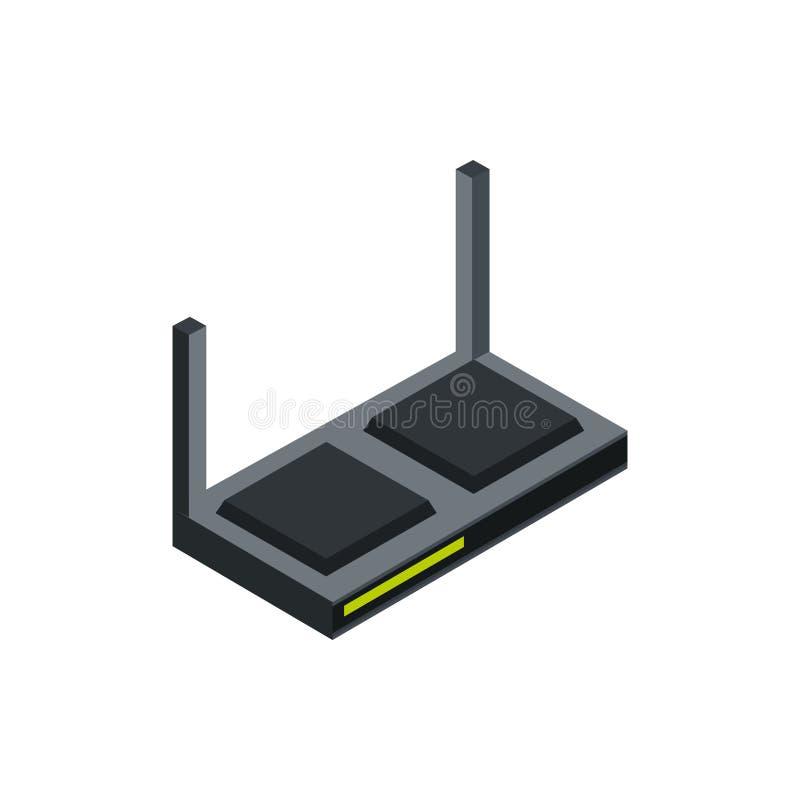 Dispositivo hardware per la tecnologia dell'antenna del router isometrico illustrazione vettoriale