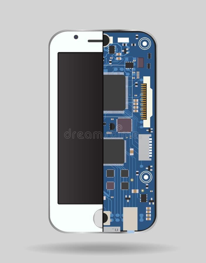Dispositivo interno del teléfono - placa de circuito, un microprocesador, una variedad de microprocesadores y otros componentes e stock de ilustración