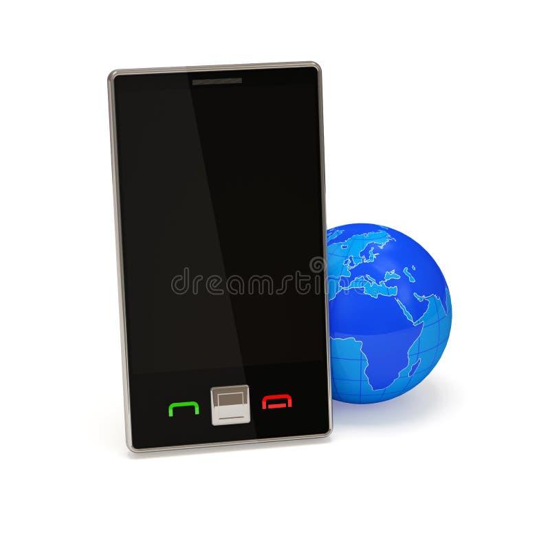 Dispositivo móvil con el globo de la tierra stock de ilustración