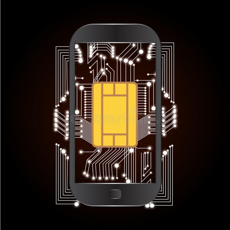 Dispositivo móvil moderno sobre tecnología Ilustración del vector stock de ilustración