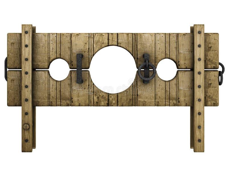 Dispositivo medieval da punição do pillory ilustração do vetor