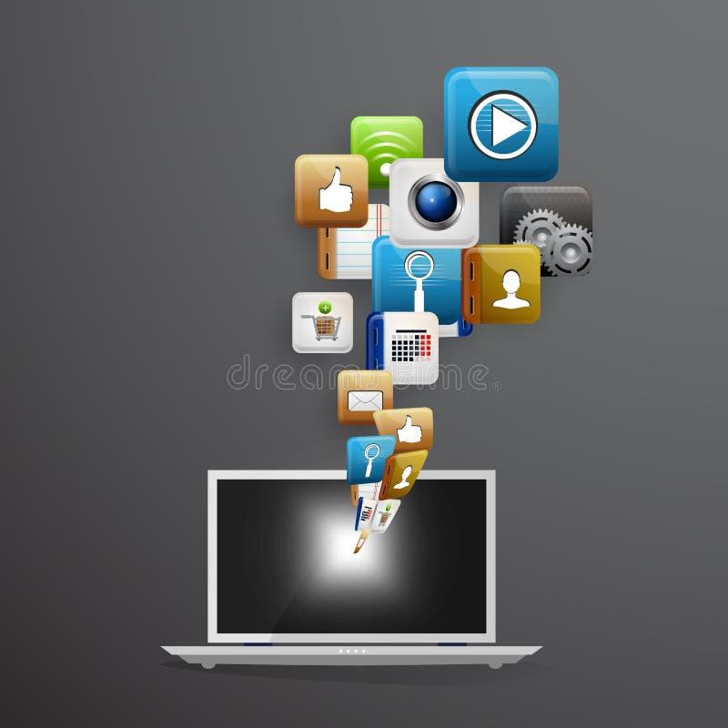 Dispositivo mobile con un insieme delle icone piane illustrazione vettoriale