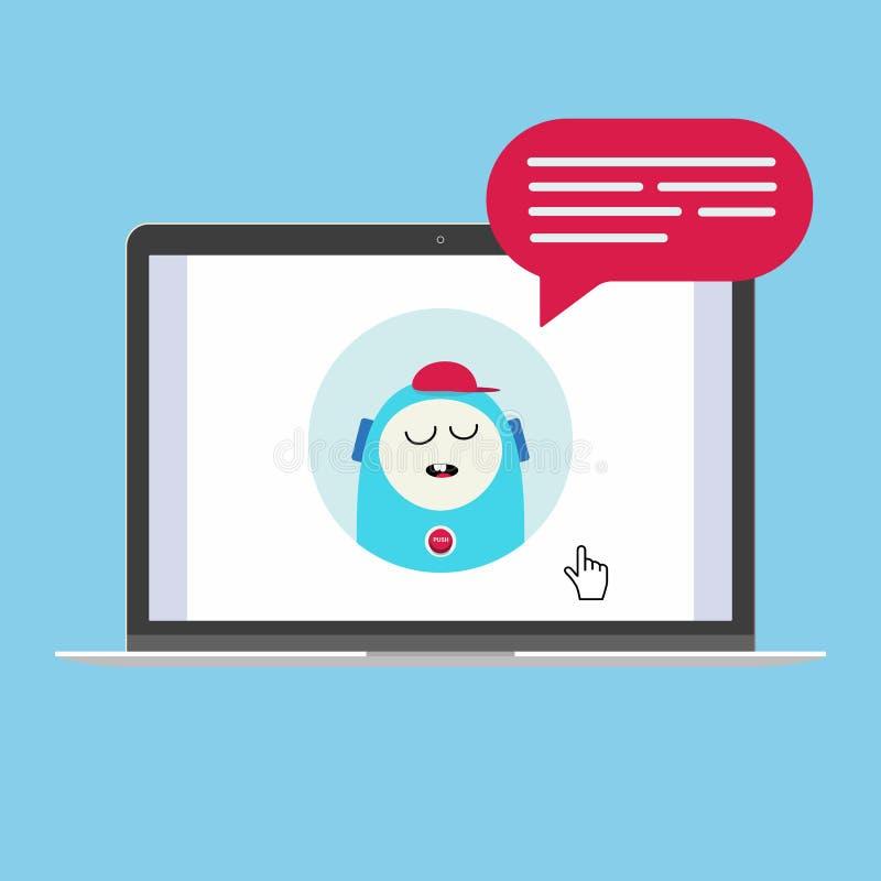 Dispositivo moderno - el ordenador portátil, cuaderno, diseño plano de la PC del netbook con bot de la charla hablar en la burbuj stock de ilustración