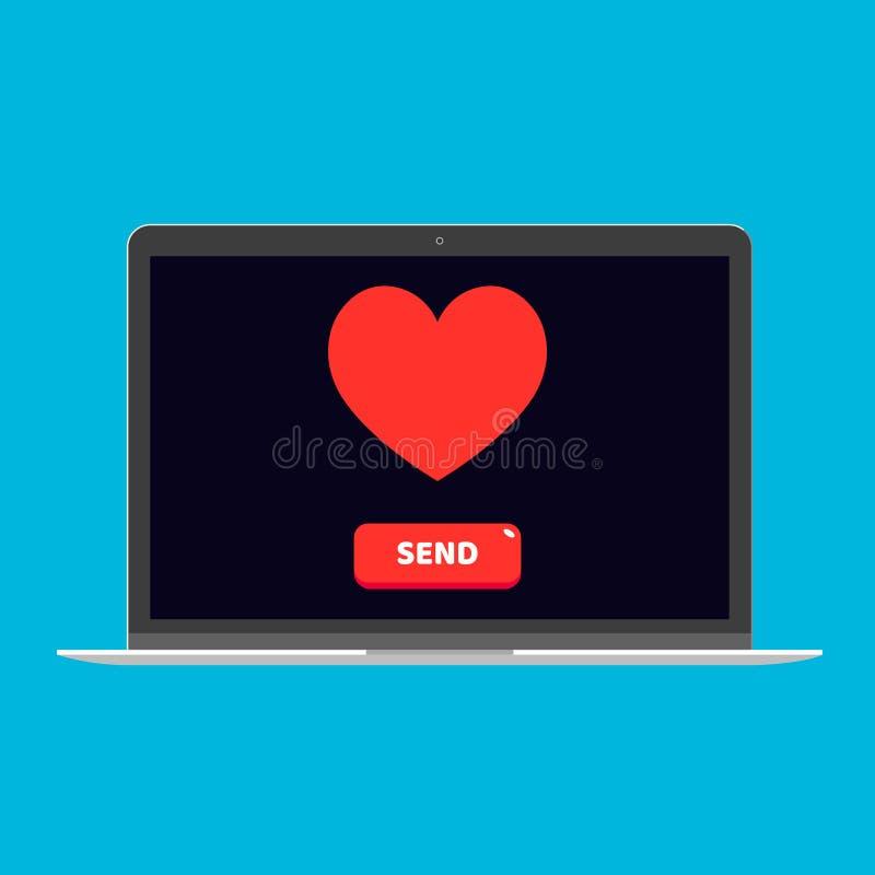 Dispositivo moderno - o projeto liso do portátil, do computador ou do PC do netbook com coração e botão envia sobre a ilustração  ilustração stock