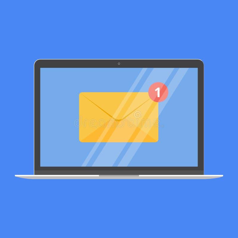 Dispositivo moderno - portátil, caderno, projeto liso do PC do netbook com o envelope novo da mensagem na ilustração do vetor do  ilustração royalty free