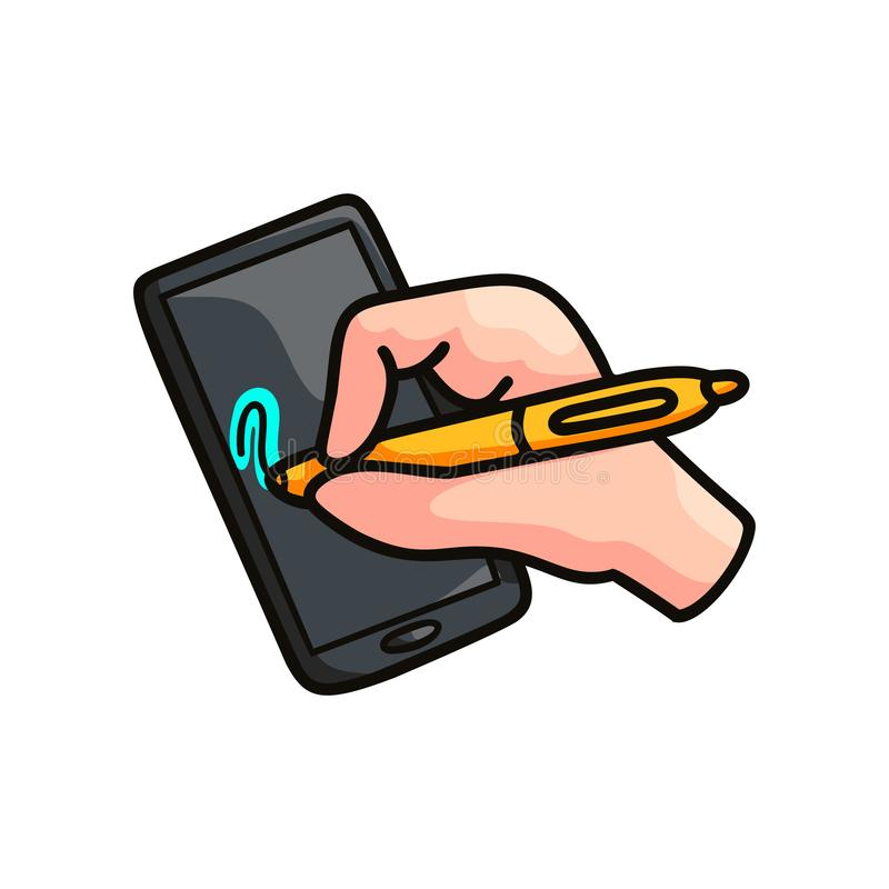 Dispositivo o tableta elegante con el dibujo de la seguridad de la pluma de la mano libre illustration