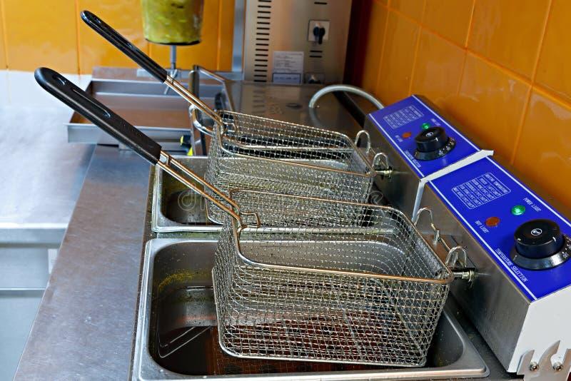 Dispositivo per la cottura le patate e della carne in fritto nel grasso bollente in fotografie stock libere da diritti