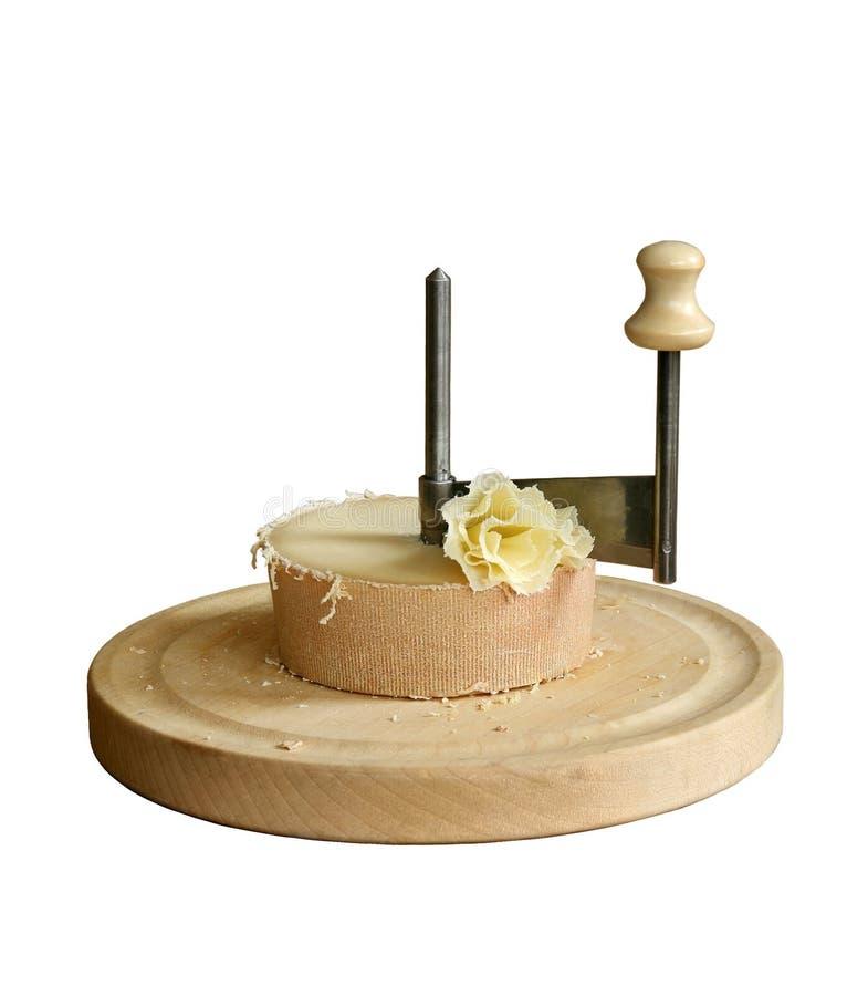Dispositivo que raspa del queso suizo Tete de moine fotografía de archivo