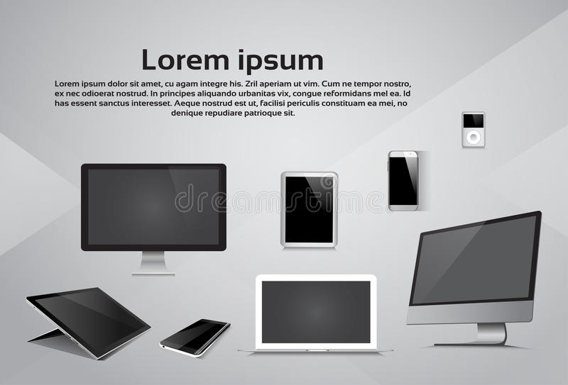 Dispositivo responsivo de la mesa del reproductor Mp3 de la tableta del teléfono del ordenador portátil del diseño libre illustration
