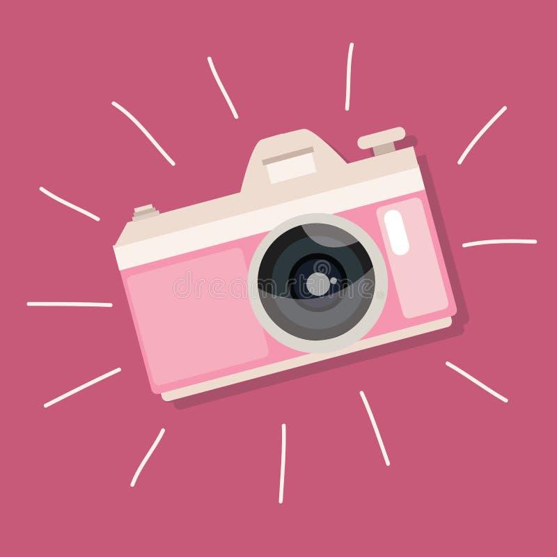 Dispositivo retro da foto da ilustração do ícone do vintage do rosa da câmera ilustração do vetor