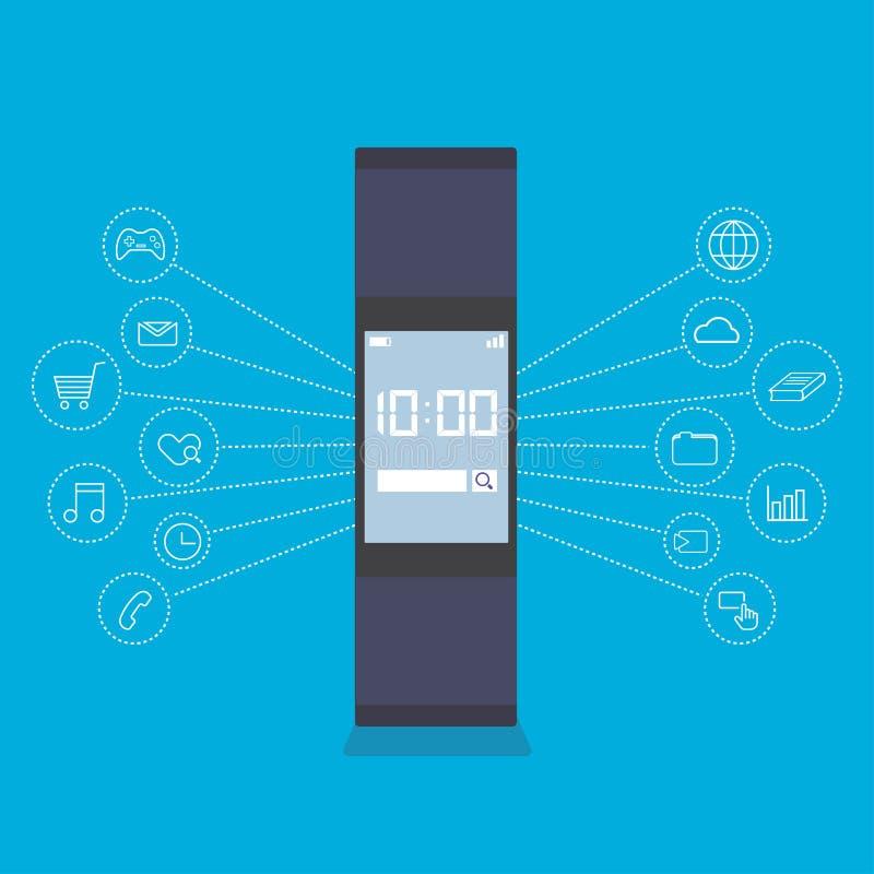 Dispositivo usable de la tecnología de Smartwatch ilustración del vector