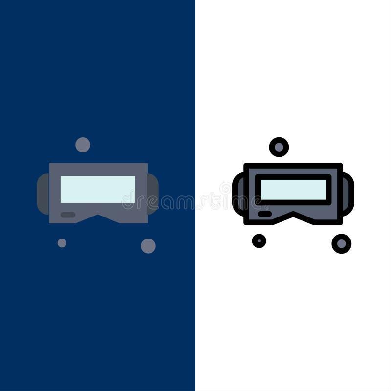 Dispositivo, vetri, Google Glass, icone astute Il piano e la linea icona riempita hanno messo il fondo blu di vettore illustrazione di stock