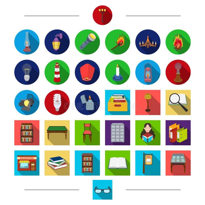 Dispositivos bondes, iluminação e o outro ícone da Web no estilo dos desenhos animados educação, informação, arquivo, ícones no g ilustração do vetor