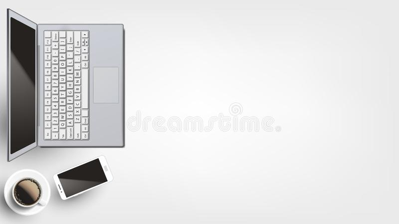 Dispositivos contemporâneos no vetor colocado liso do local de trabalho ilustração stock
