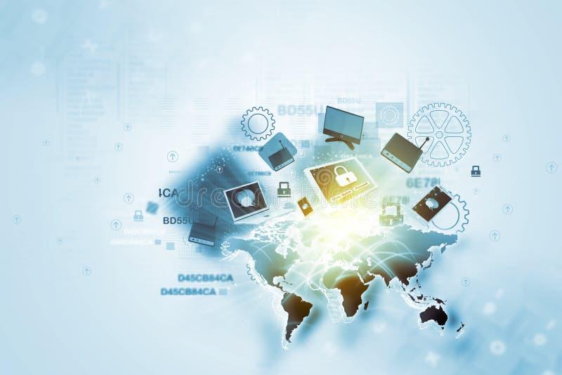 Dispositivos da rede global ilustração stock