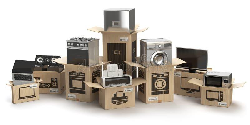 Dispositivos de cocina del hogar y electrónica casera en isola de las cajas ilustración del vector