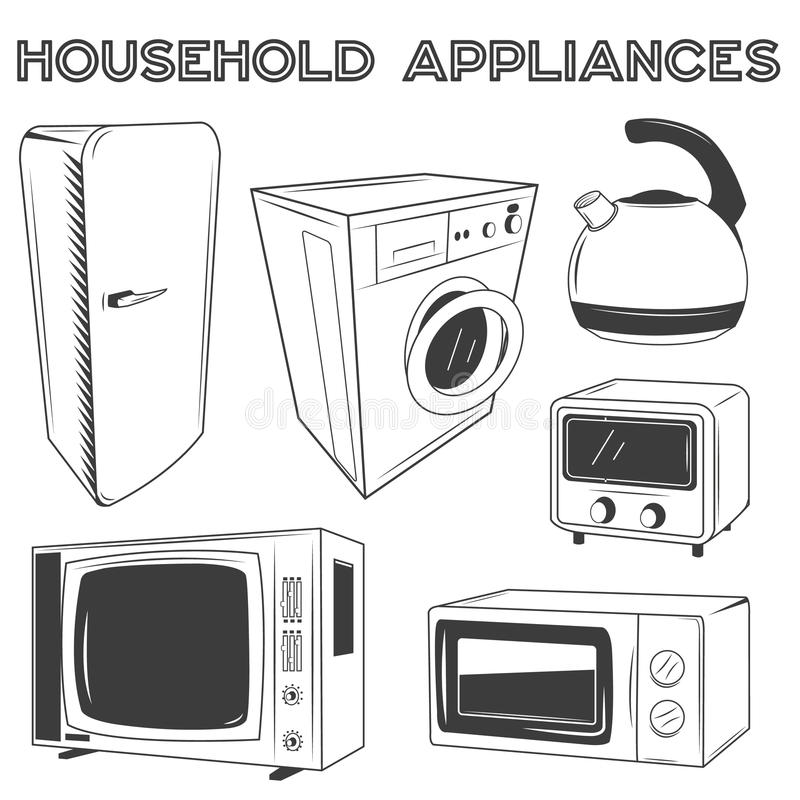 Dispositivos de cozinha modernos ajustados Ilustração do vetor no projeto retro do estilo ilustração royalty free