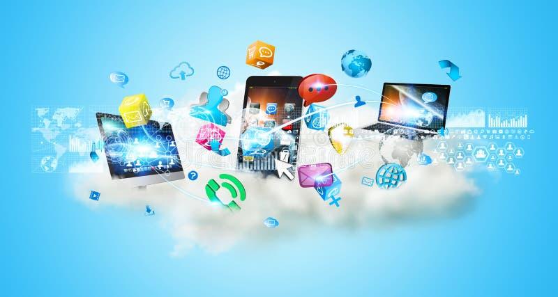 Dispositivos de la tecnología y usos de los iconos sobre una nube stock de ilustración
