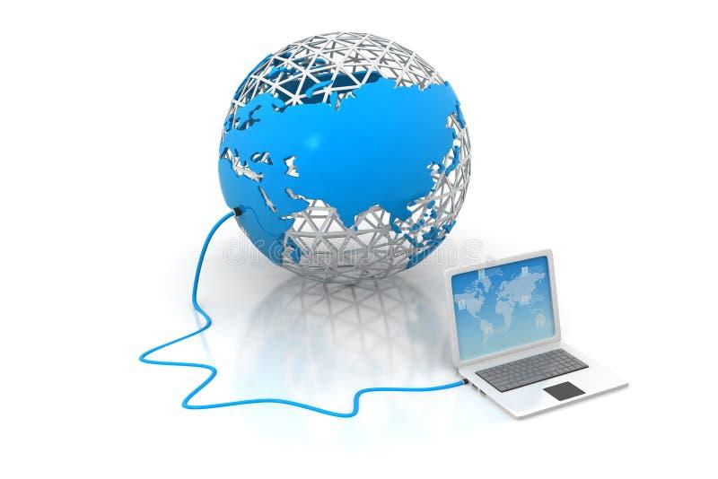 Dispositivos del ordenador portátil conectados con el mundo stock de ilustración