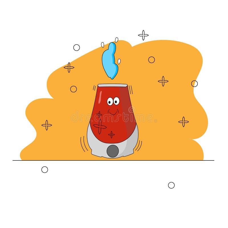 Dispositivos dos desenhos animados Car?ter engra?ado geom?trico Cruz, caneca, vapor Humidificador de sorriso vermelho de trabalho ilustração stock