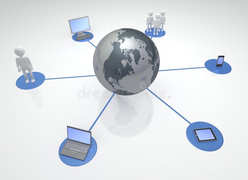 Dispositivos e as comunidades conectados globais ilustração do vetor