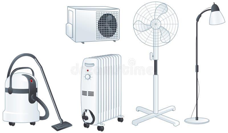 Dispositivos elétricos ilustração ajustada do vetor ilustração stock