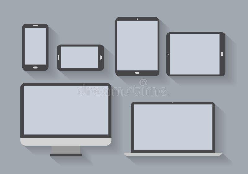 Dispositivos electrónicos con las pantallas en blanco ilustración del vector